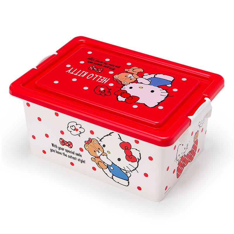 〔小禮堂〕Hello Kitty 附蓋收納箱《M.紅白.側站.小熊.牽手.點點》
