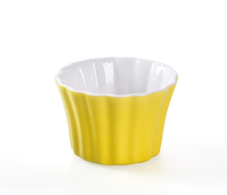 HOMA 彩色廚房  條紋向口彩色烤盅 烤蛋糕 烤布蕾 蒸蛋 來自法國時尚色系 黃色一個   女生最愛禮物首選