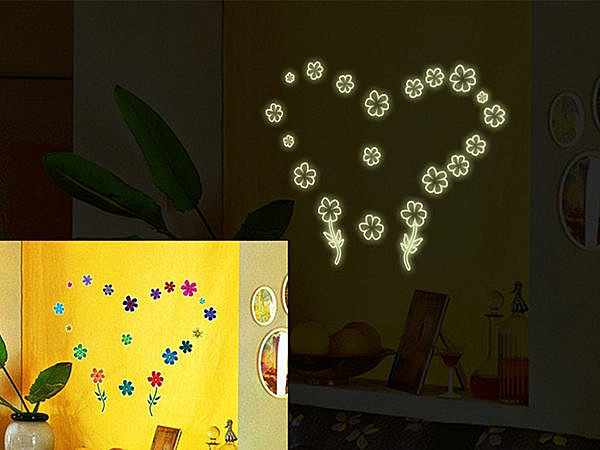 BO雜貨 【YV3471】高品質創意牆貼 壁貼 背景貼 磁磚貼 夜光牆貼 螢光DIY 愛情花朵