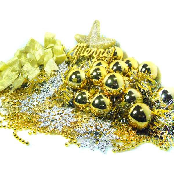 聖誕裝飾配件包組合-金銀色系 (6尺(180cm)樹適用)(不含聖誕樹)(不含燈) YS-DS06005