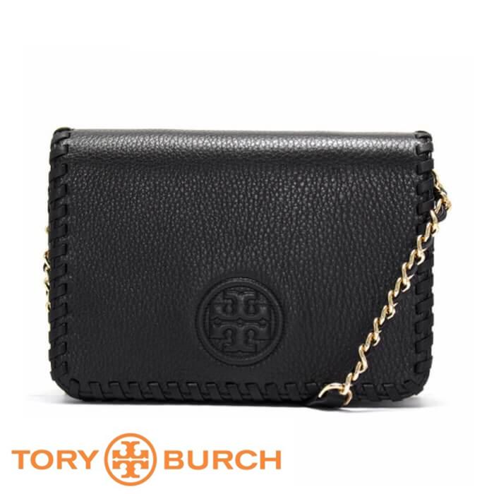 【Tory Burch】編織鍊條多夾層斜背包(黑)