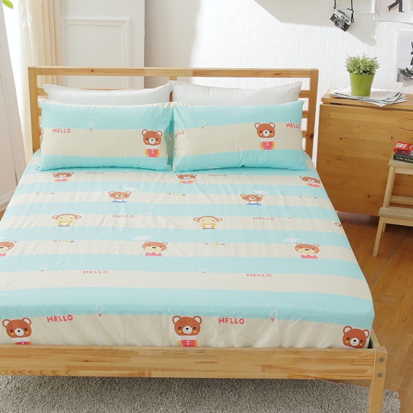 [SN]#B144#寬幅100%天然極緻純棉5x6.2尺雙人床包+枕套三件組*台灣製/SGS檢驗/床單/床巾