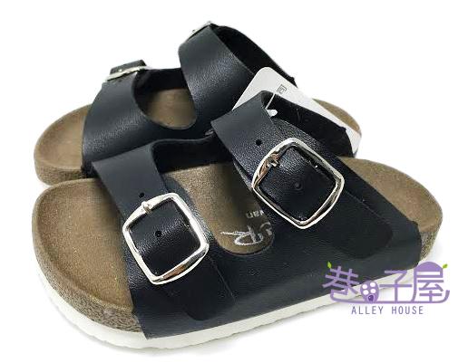 【巷子屋】ROOSTER公雞 童款經典勃肯二槓/條拖鞋 [2336] 黑 MIT台灣製造 超值價$198
