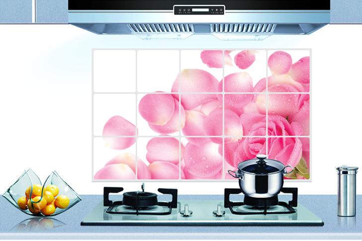 【壁貼王國】廚房創意防油貼 45*75公分/3012 - 粉色玫瑰花瓣