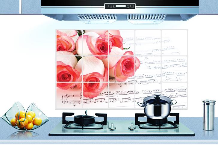 【壁貼王國】廚房創意防油貼 45*75公分/3016 - 玫瑰五線譜