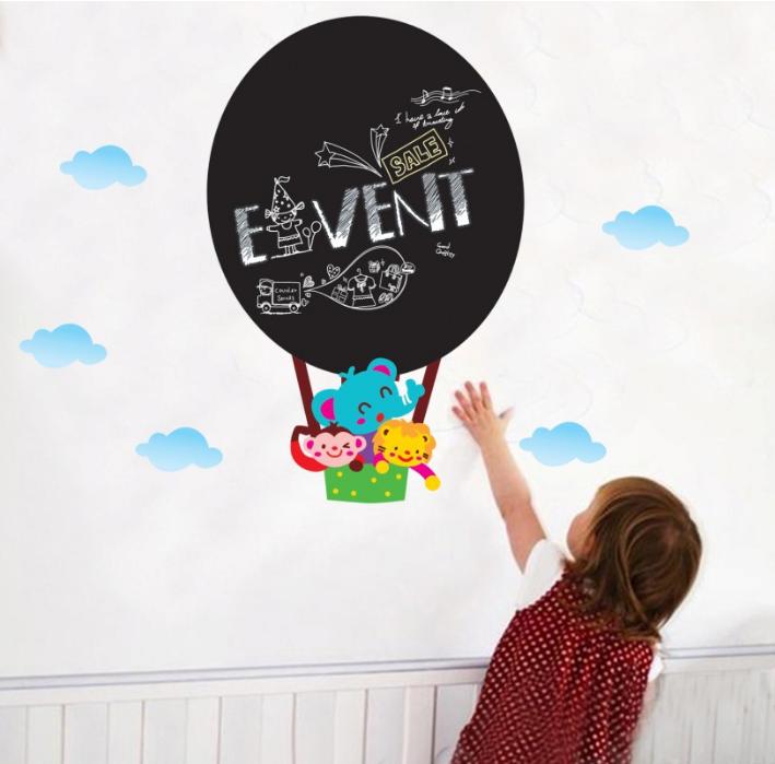 【壁貼王國】 黑板貼系列無痕壁貼 《熱氣球 - AY628》