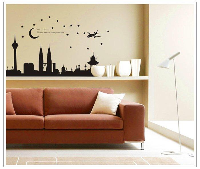 【壁貼王國】建築系列無痕壁貼 《城市剪影/雙子星 - AY1938》