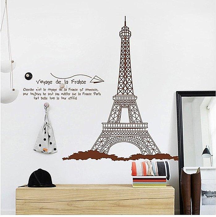 【壁貼王國】 建築系列無痕壁貼 《 巴黎鐵塔K- AY726 棕 》