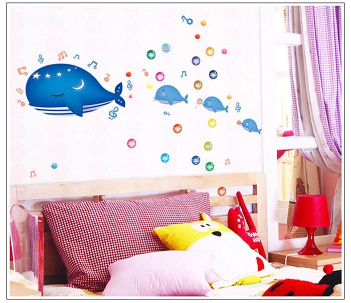 【壁貼王國】 卡通系列無痕壁貼 《鯨魚世界 - AY7018》