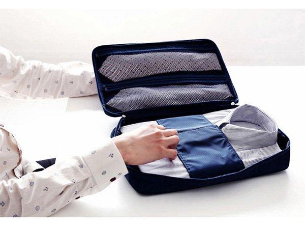 BO雜貨【SV6158】韓系旅行T恤襯衫領帶整理包手提收納包 收納盒 附摺衣板