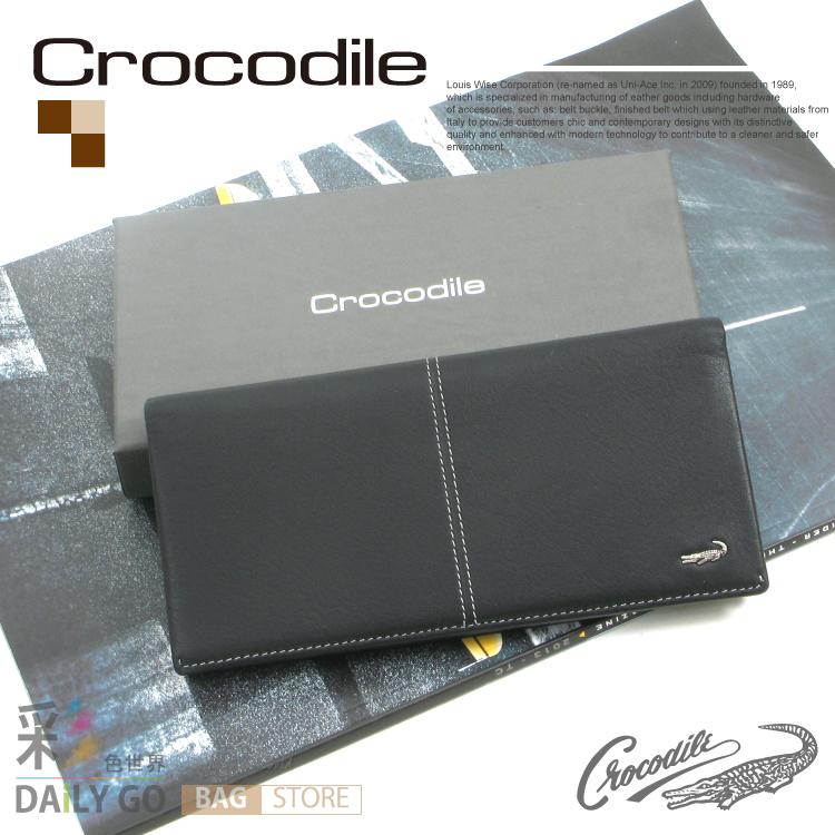 父親節 情人節 禮物推薦 生日禮物 Crocodile 鱷魚 進口真皮 時尚品味 長夾 皮夾 黑 0203-36011