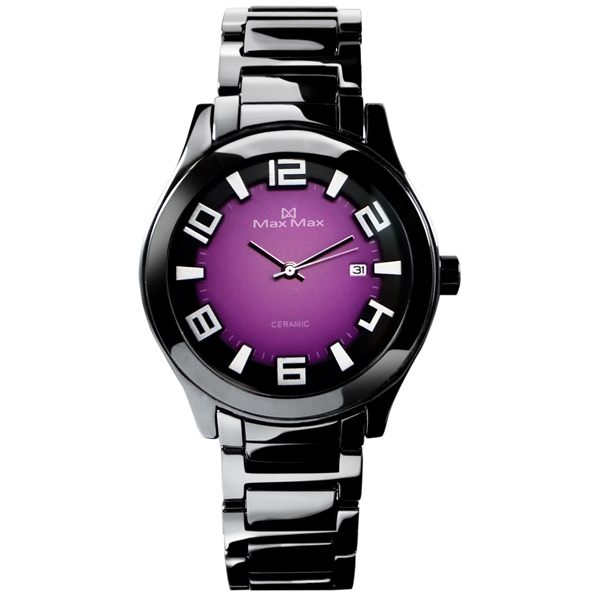 Max Max MAS5117-B3新潮紫黑陶瓷腕錶/紫面38mm