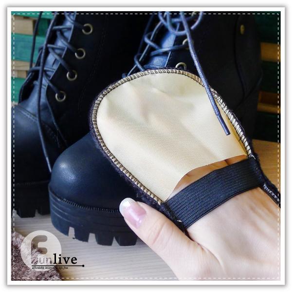 【aife life】絨毛擦鞋手套/便攜仿羊毛 擦鞋布/軟毛鞋刷/手套上光鞋刷子/皮鞋擦/鞋油擦/擦鞋布