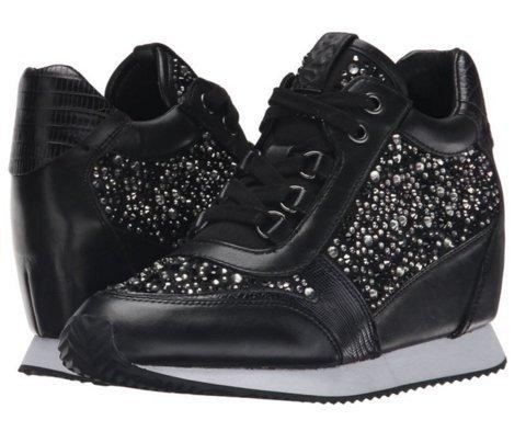 ASH-全新正品運動鞋 黑色和白色水晶 白底 限量款 內增高鞋350656