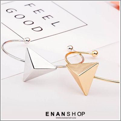 惡南宅急店【0346B】韓國熱賣款 立體大三角設計 開口手環 金屬手環