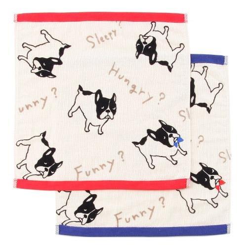 日本代購預購 付款 滿600免運 法國鬥牛犬圖案 小狗圖案 時尚小毛巾 小方巾 809-510