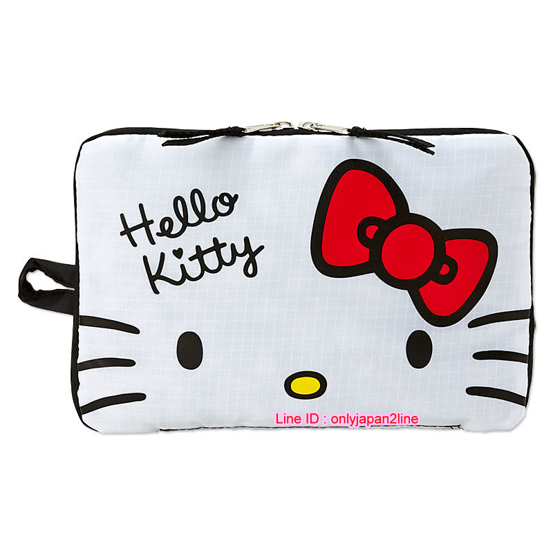 【真愛日本】16111000013可收納旅行袋-KT多圖點點黑    三麗鷗Hello Kitty凱蒂貓 旅行袋 收納袋