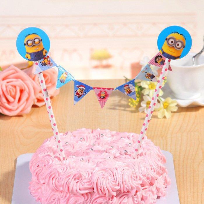 =優生活=兒童生日派對裝飾拉旗 生日蛋糕插旗拉旗拉花裝扮用品 婚慶婚禮裝飾 野餐派對 情人節裝飾【神偷奶爸】