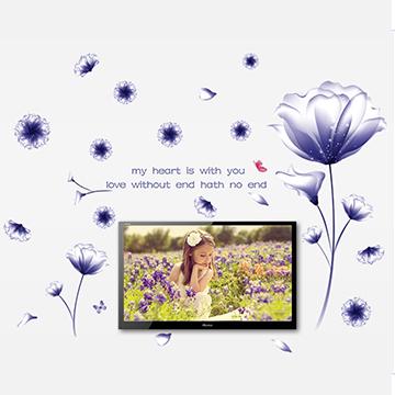 WallFree窩自在 DIY無痕創意牆貼/壁貼-絢爛紫花朵_AY9184B