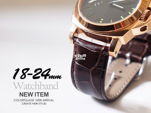 【完全計時】手錶館│Panerai 沛納海代用 進口高級小牛皮錶帶 限量 質感咖 褐色車線 搭配ㄇ釦