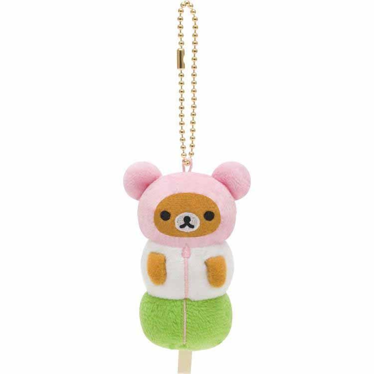 【真愛日本】16090400002絨毛娃鎖圈-懶熊變裝茶屋三色丸子    SAN-X 懶熊  奶熊 拉拉熊  鑰匙圈 鎖圈 吊飾