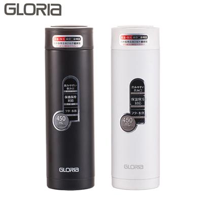 【GLORIA】日本SUS#316不鏽鋼真空保溫瓶(濾網型)450ml (GBM-45B)單支