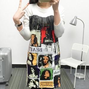 美麗大街【IR2126】民族風人物圖騰女裝長袖連衣裙長袖洋裝