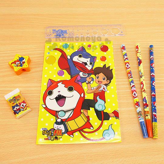 〔小禮堂〕妖怪手錶 文具組《黃.朋友.氣球.星星.袋裝》超值5件文具組合