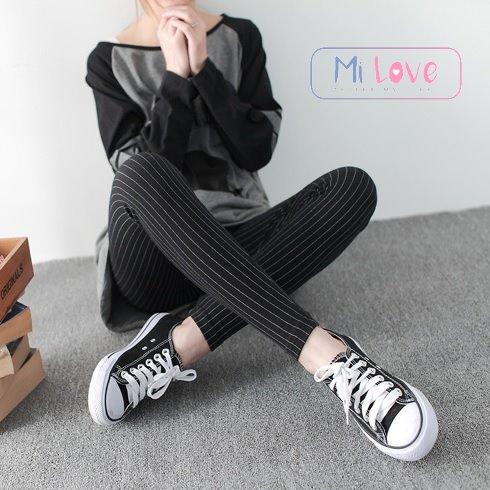 MiLove ↗ 細直條一條一條的內搭褲 ☆【N12】