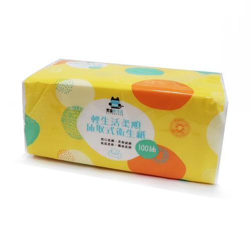 【奇買親子購物網】黑貓輕生活 柔順抽取式衛生紙100抽