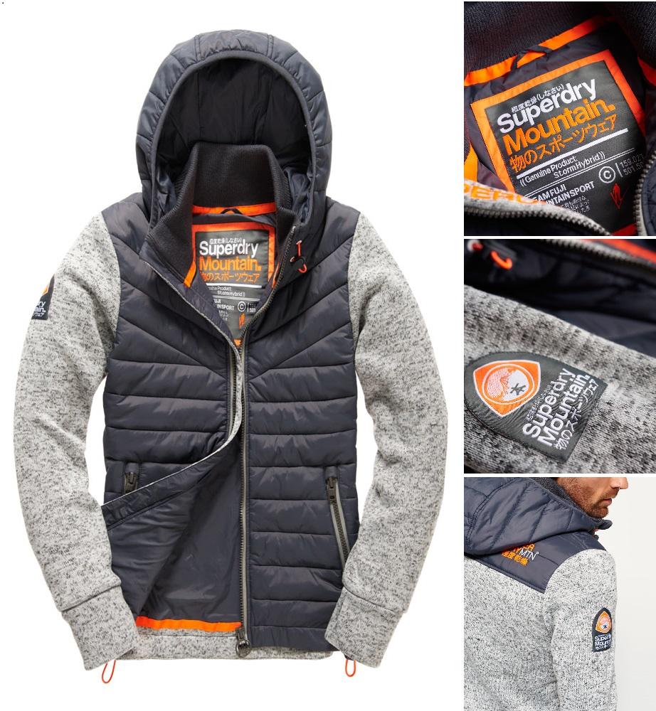 男款 Superdry 極度乾燥 2016最新款 Storm Hybrid拉鍊連帽外套 羽絨 背心 針織 外套 防風 灰砂礫