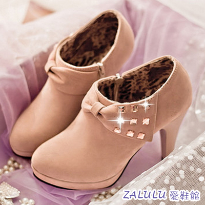 【IB066】現貨出清 美腿優雅蝴蝶結水鑽邊飾細高跟踝靴-卡其37