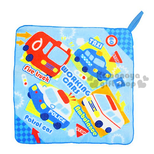 〔小禮堂〕RB工程車 擦手巾《藍.多車》可寫名字標註.日本丸真系列