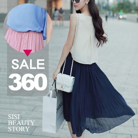 SISI【D6052】甜美公主撞色拼接縮腰顯瘦百褶背心連身裙無袖背心假兩件雪紡洋裝