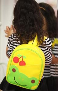 Funnimals◆可愛卡通動物水果圖案兒童書包雙肩包休閒肩背包-黃色小青蛙