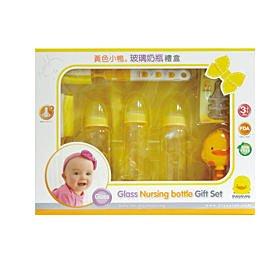 淇淇婦幼館【YY001】黃色小鴨玻璃奶瓶禮盒