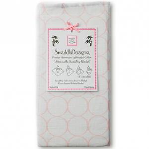 美國【Swaddle Designs】薄棉羅紗多用途嬰兒包巾 (粉圈)
