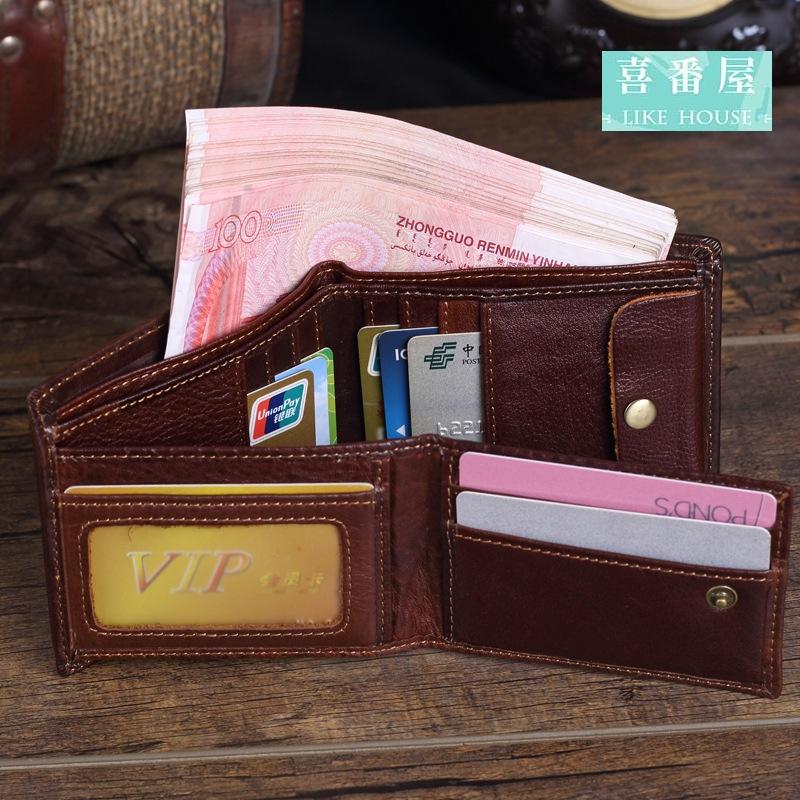 【喜番屋】日韓版真皮牛皮復古男士活頁多卡位2折皮夾皮包錢夾零錢包短夾男夾男包LH355