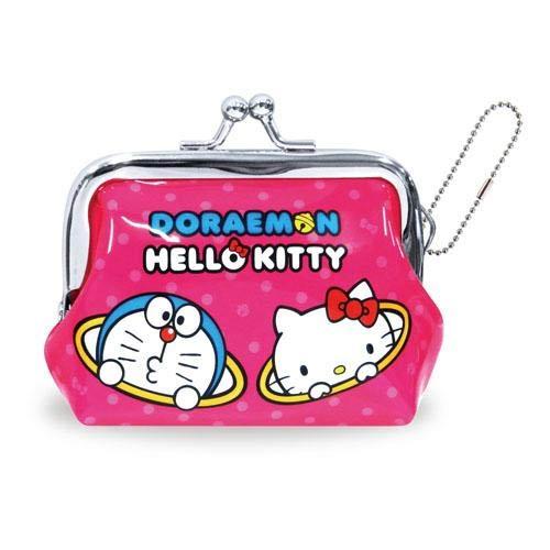 Hello Kitty 哆啦A夢 聯名 珠扣 口金 零錢包 日本正版商品