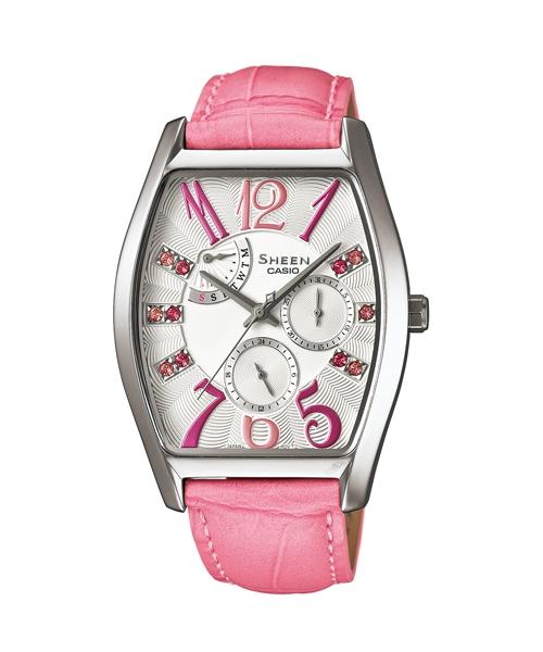 CASIO SHEEN SHE-3026L-7A2典雅酒桶多功能流行腕錶/粉紅色46*34mm