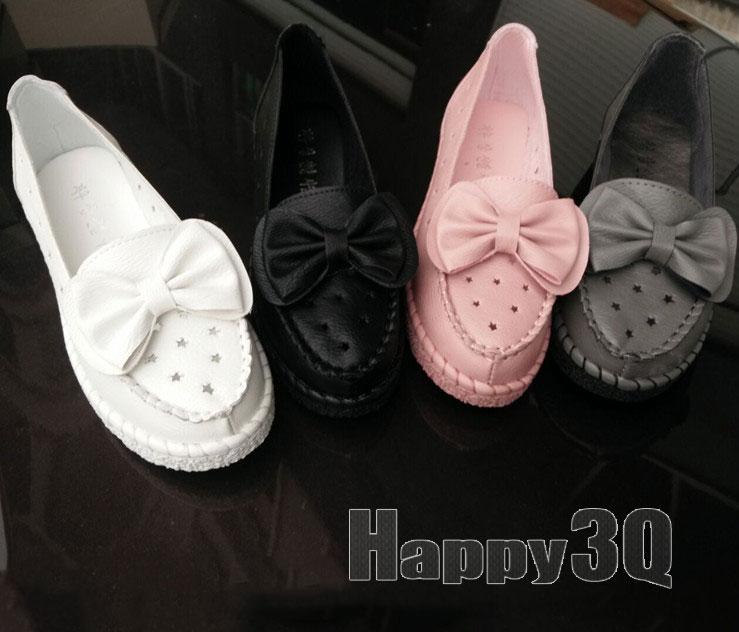 休閒蝴蝶結點點鏤空舒適平底厚底娃娃鞋鞋-黑/灰/粉/白35-40【AAA0078】