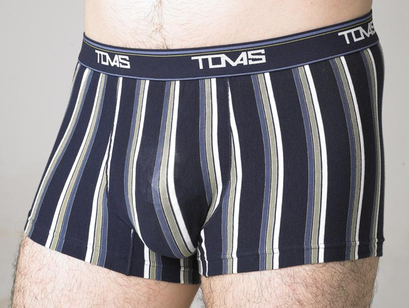 TOMAS  萊卡-中腰條紋平口褲-深藍【培宇商城】    S2505ND        專利  囊袋壓模舒適透氣內褲   盒裝 內褲x1件裝