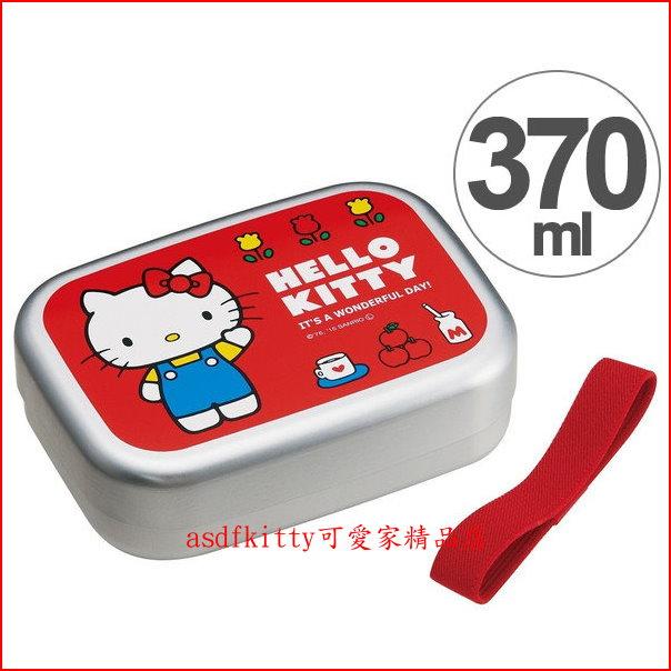 asdfkitty可愛家☆KITTY鬱金香鋁製便當盒-附束帶-370ML-輕量好攜帶-日本製