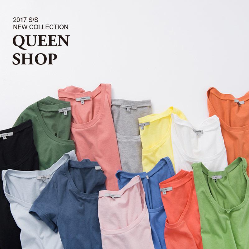 Queen Shop【01036100】圓領棉質素T 十三色售 S/M/L  *預購*