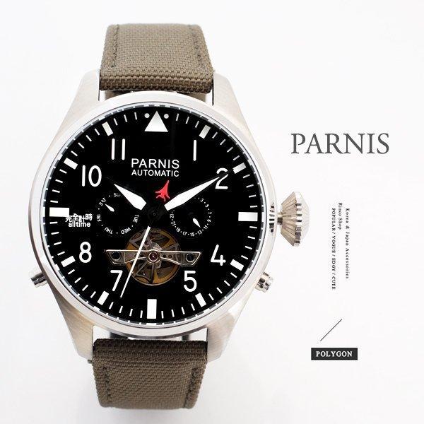 【完全計時】手錶館│PARNIS 陀飛輪造型/日期/星期顯示 自動機械錶PA3101 白鋼 Xl 飛行款 50mm