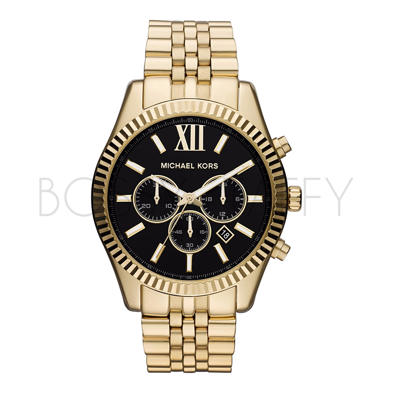 MK8286 MICHAEL KORS 三眼六針大盤男錶玫瑰金 黑金色鋼帶男錶