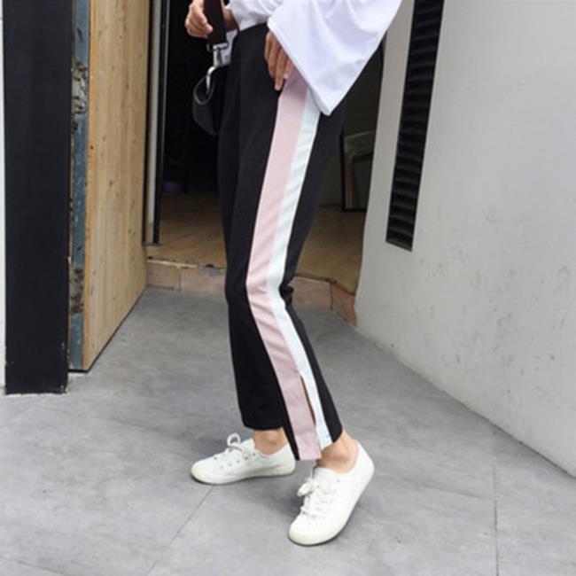 50%OFF【G017340P】(實拍)新款韓版時尚高腰拼接休閒顯瘦闊腿褲女寬鬆九分褲