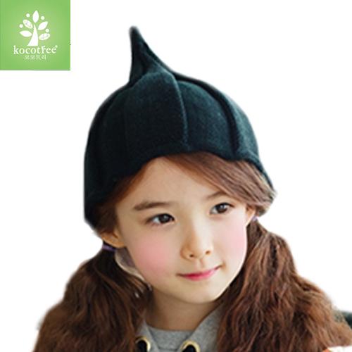Kocotree◆ 秋冬時尚韓系氣質簡約金絲設計兒童保暖毛線帽-黑色