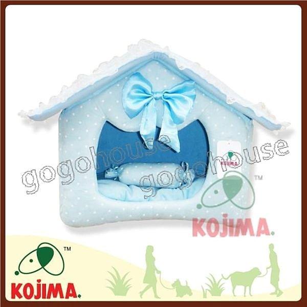 ☆狗狗之家☆日本KOJIMA麂皮絨點點王子組合式狗屋/床/窩(小)~藍色