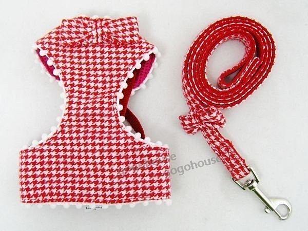 ☆狗狗之家☆日本peppets水鑽千鳥紋背心式胸背帶+牽繩組~紅色